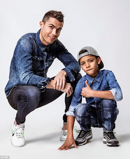 Father & Son: Cristiano Ronaldo and Cristiano Jr rock matching denim to promote their new clothing campaign. [Pictures Below]