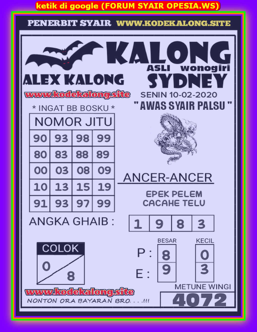 Kode syair Sydney Senin 10 Februari 2020 90