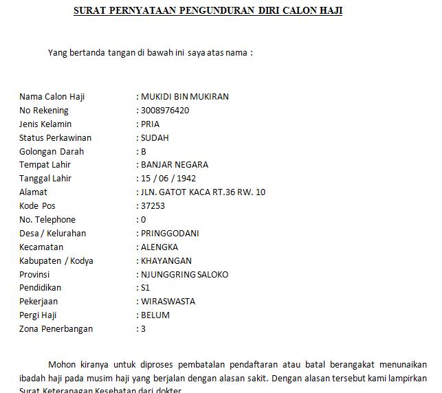 Contoh Surat Pernyataan Pengunduran Pembatalan Calon Haji Karena