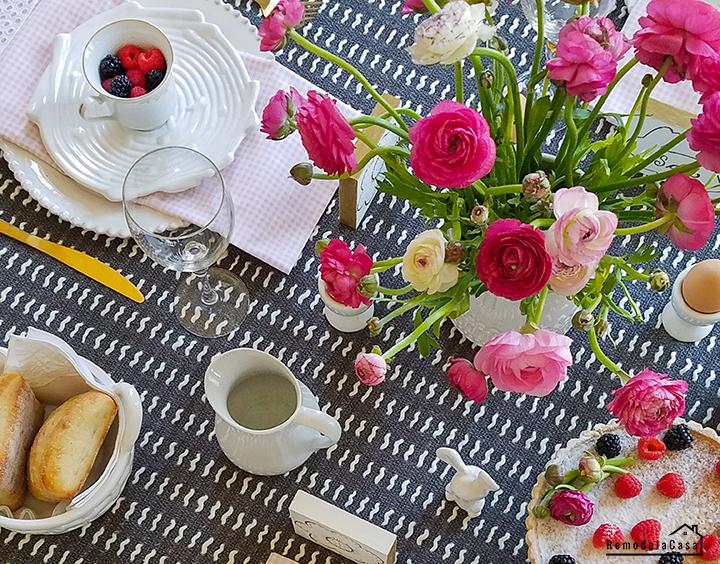 ranunculus on Easter table
