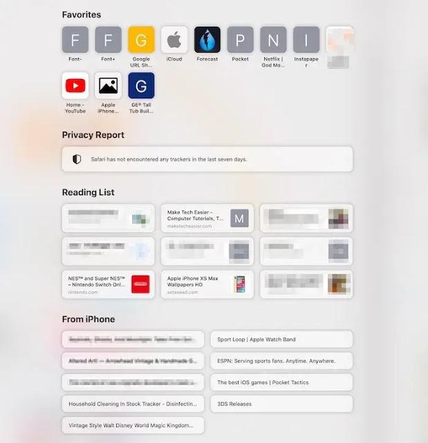 مميزات Safari 14 : الصفحة الرئيسية المحدثة