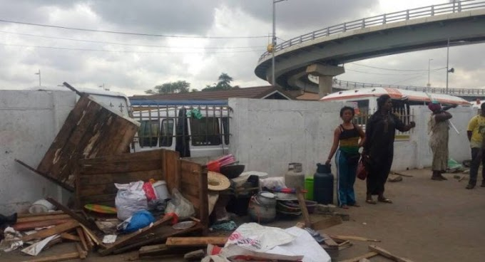AMA Demolishes Illegal Structures At Nkrumah Interchange