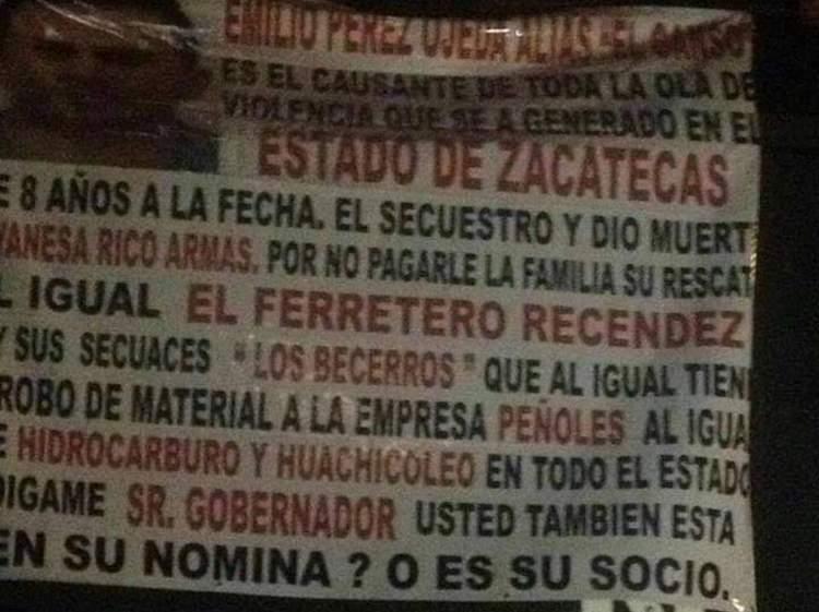 ¿CJNG y Cártel de Sinaloa también están detrás de narcomantas en Zacatecas?