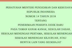 Permendikbud No 14 [Tahun] 2018 (Tentang) Juknis PENERIMAAN Peserta DIDIK BARU TK SD SMP SMA SMK & SEDERAJAT 2017/2018