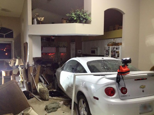 car crashed into a home