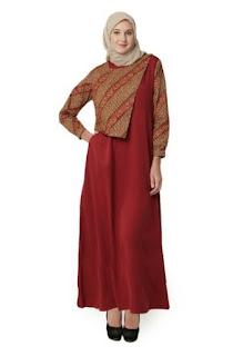 Model-Gamis-Batik-Kombinasi-Blazer