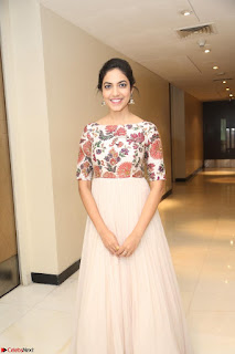 Ritu Varma smiling face Cream Anarkali dress at launch of OPPO New Selfie Camera F3 ~  Exclusive 053.JPG