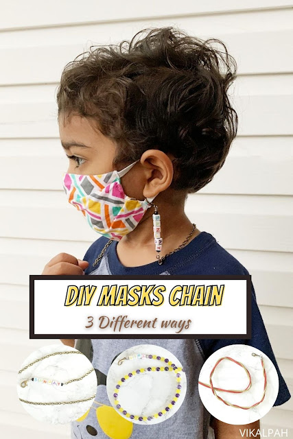 Toddler wearing masks with a chain to hold and how to make in three different ways