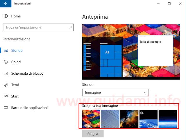 Windows 10 impostazioni sfondo desktop
