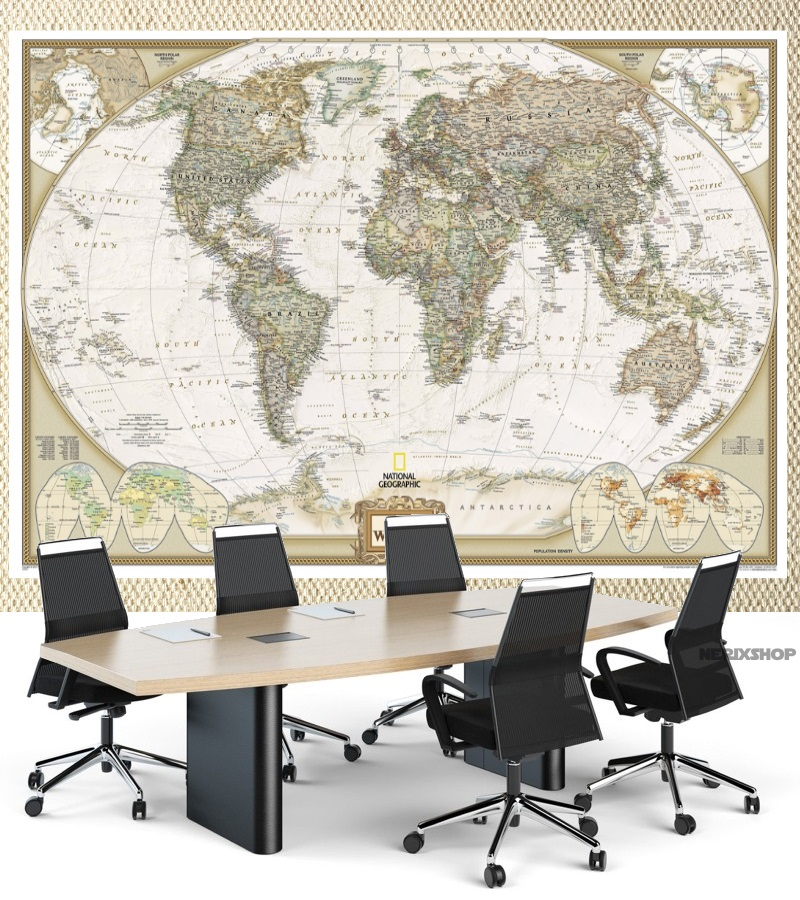 mapa gigante cobre a parede