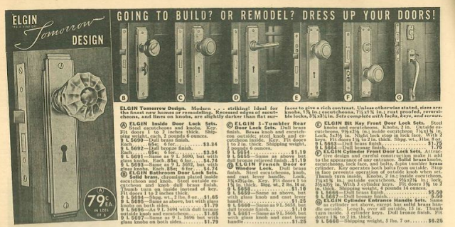 art deco style door handle design by Elgin, called Tomorrow, 1939 sears building supplies catalog