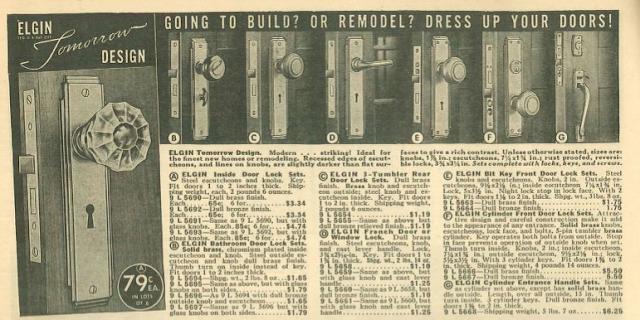 art deco style door handle design by Elgin, called Tomorrow, 1939 sears building supplies catalog