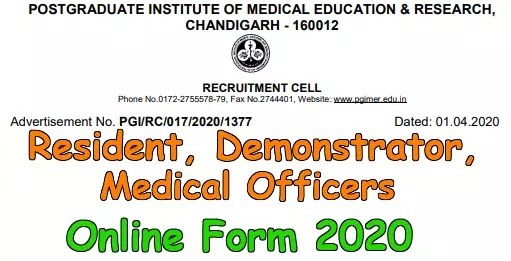 PGIMER Chandigarh 159 Various Post Recruitment 2020