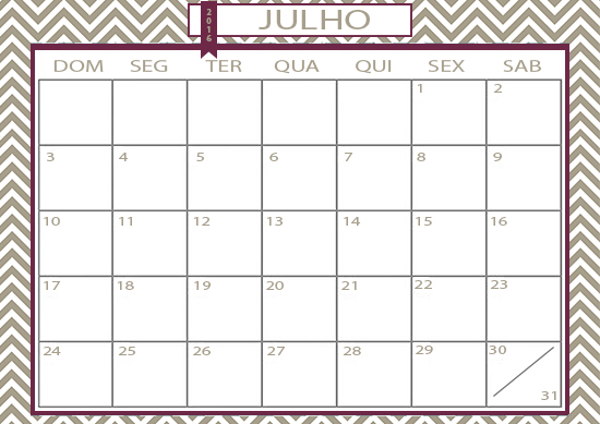 calendário, julho 2016, folinha