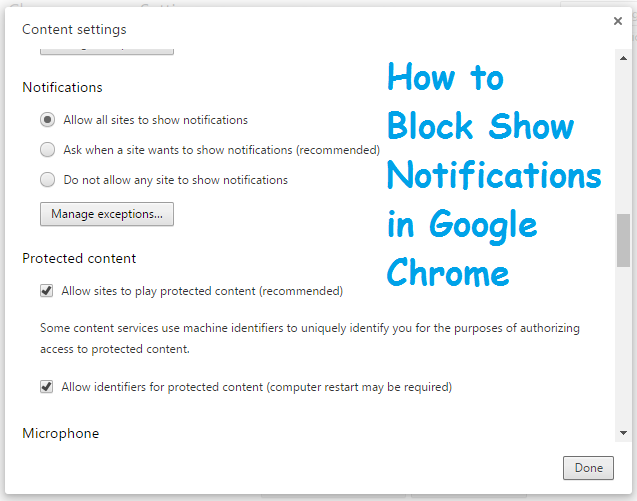 How to Block Show Notifications in Google Chrome