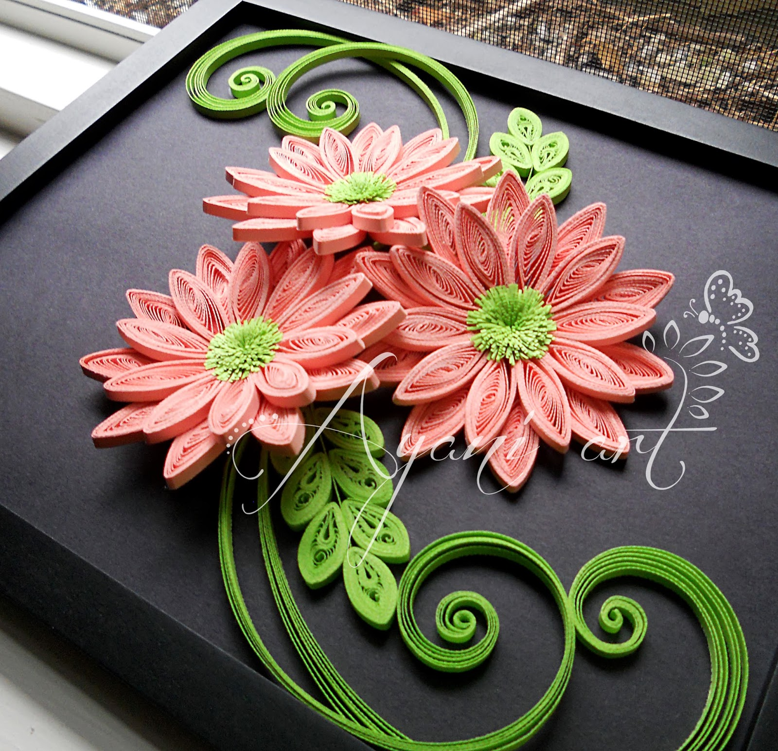Ayani Art Quilling In Pink And Green