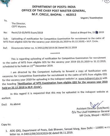 Notification for competitive exam for recruitment to the cadre of MTS from eligible GDS in MP Circle