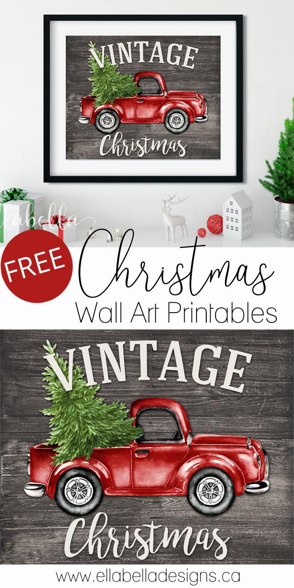 Free Christmas Wall Art Printables | Vintage red truck Christmas printable