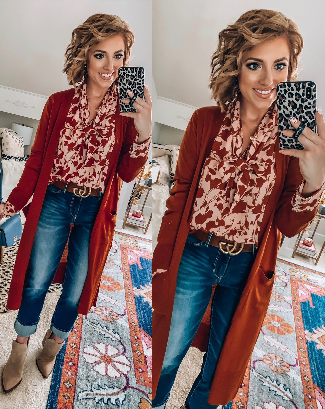 Target Fall Finds: Part One - Under $30 Blush/Rust Floral Blouse, Under $30 Rust Cardigan + Under $30 Jeans - Something Delightful Blog
