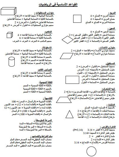 القواعد الأساسية في الرياضيات المستوى الخامس و السادس