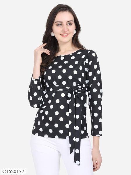Womens Crepe Polka Dot Tops Online Shopping | Womens Polka Dot Top Online Shopping | Womens Top Online Shopping | Top For Women Online Shopping | Womens Best Top | Womens Tops | Online Shopping in India | Online Shopping | Best Shopping Website India |