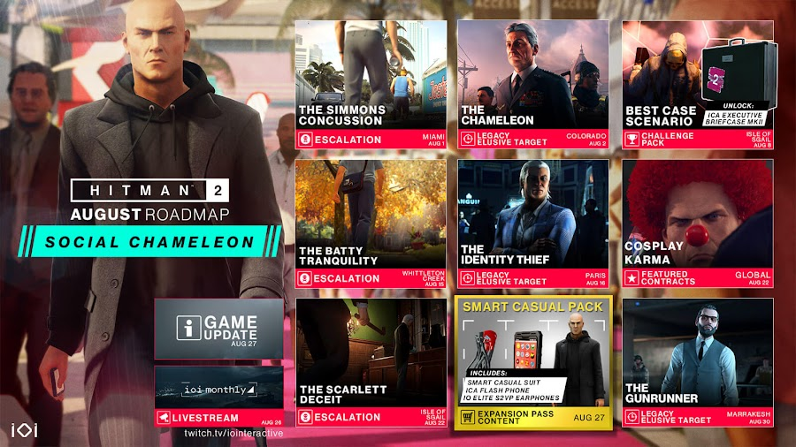 Hitman 2 august 2019 content roadmap homing briefcase agent 47 io interactive