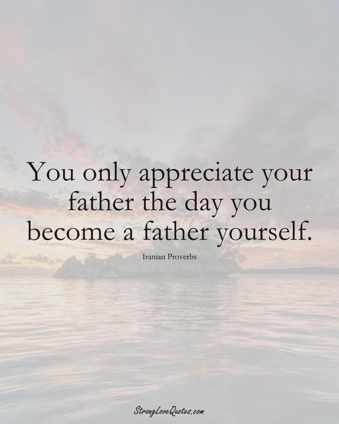 You only appreciate your father the day you become a father yourself. (Iranian Sayings);  #MiddleEasternSayings
