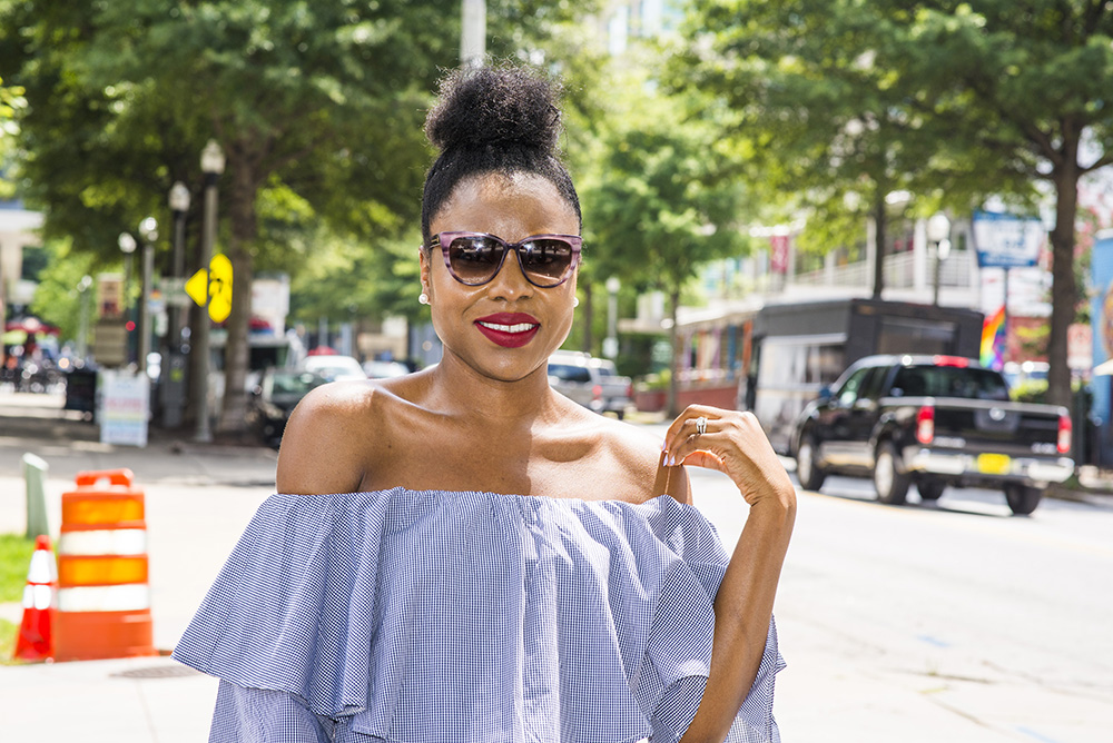 Off shoulder ruffled dress for the weekend