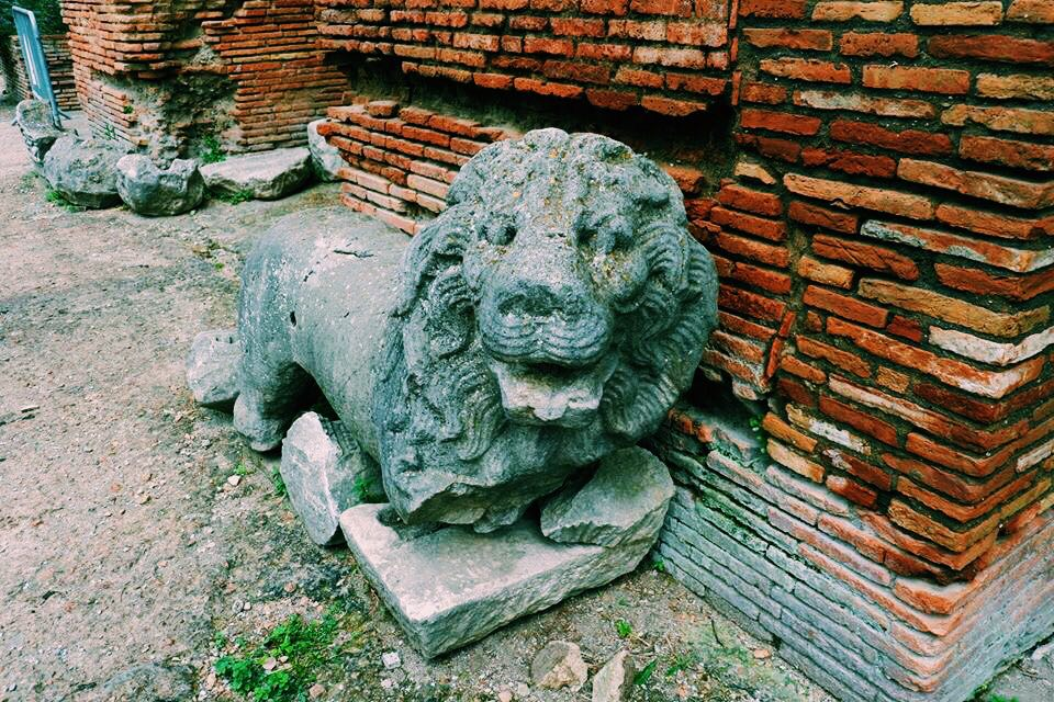 Lion Statue in the entrance walkway to the theatre of Benevento