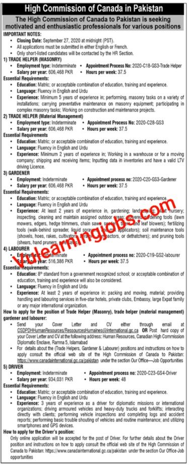 High Commision Of Canada Jobs 2020 For Helper, Driver, Gardener & Other Latest