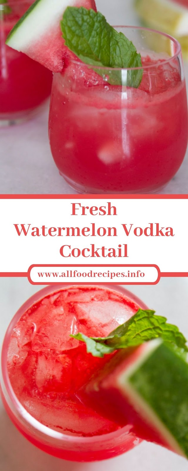 Fresh Watermelon Vodka Cocktail