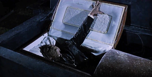 Michael Pataki as Caleb Croft rising from the Grave of the Vampire, 1972