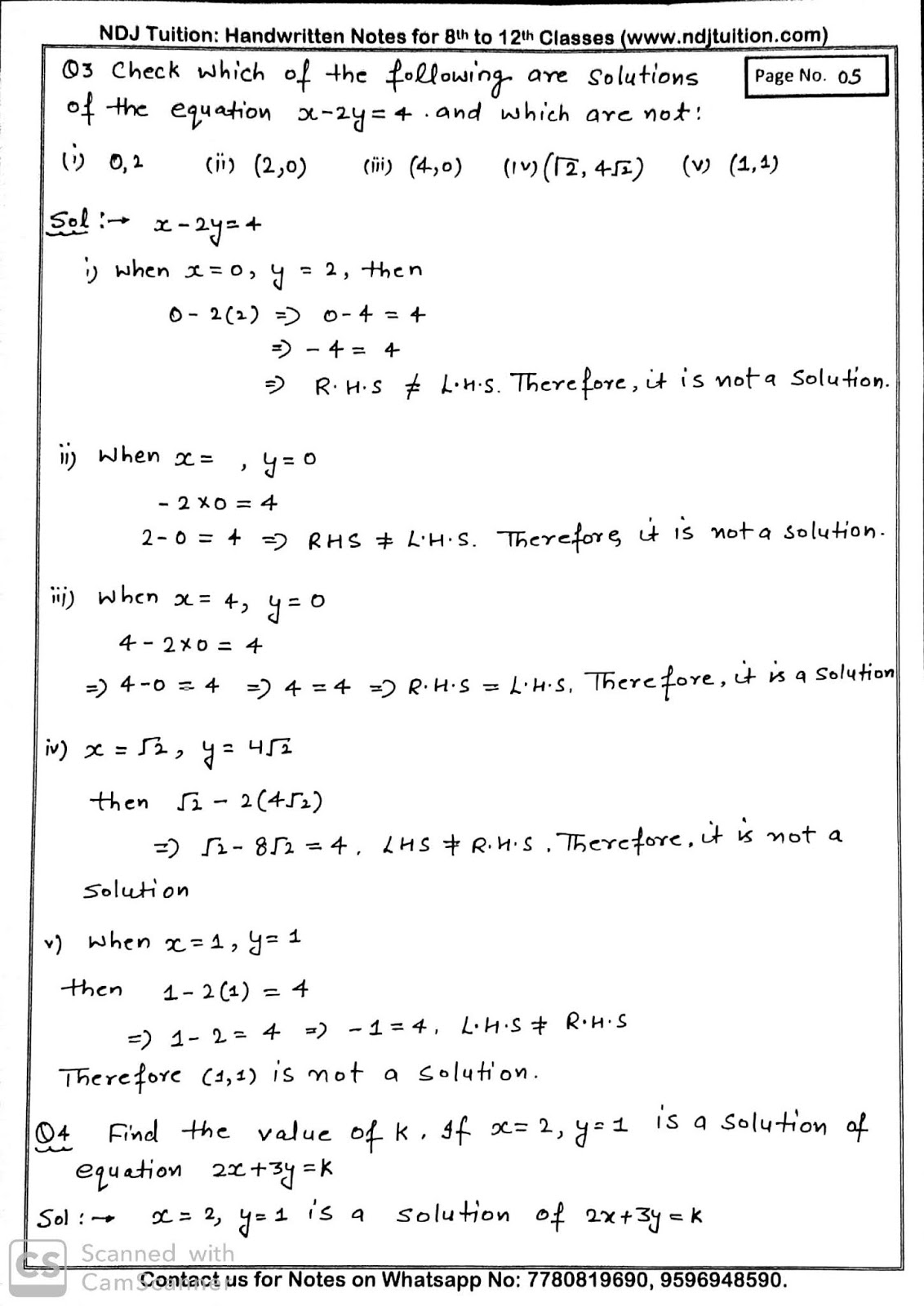 Linear Equation In Two Variables Handwritten Notes For 9th
