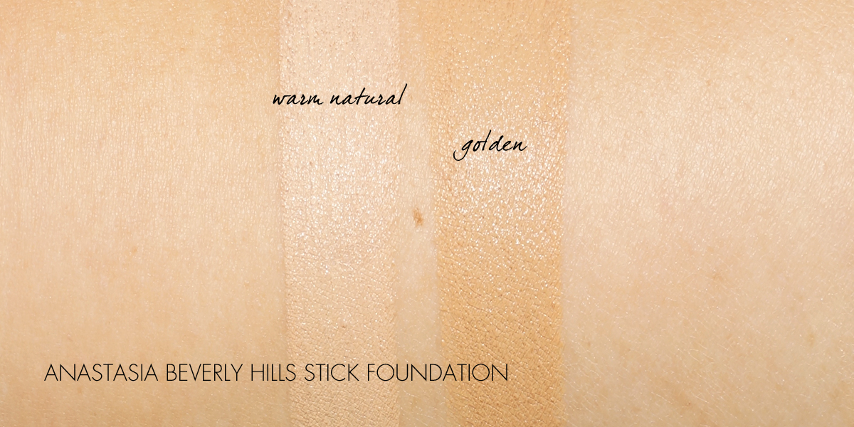 Anastasia Beverly Hills Stick Foundation in Warm Natural and Golden swatched