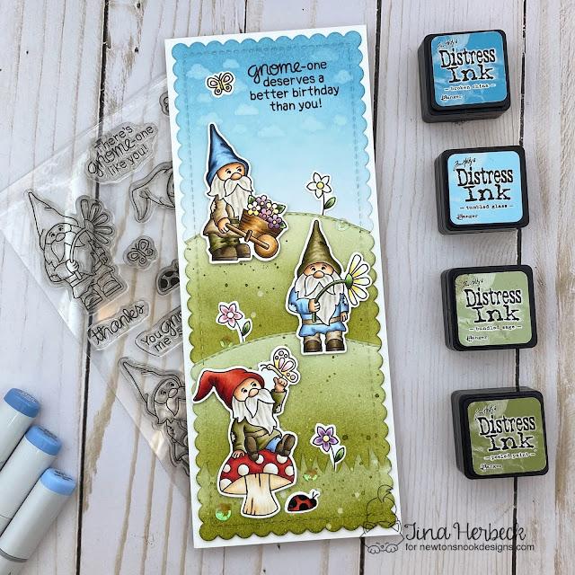 Slimline Gnome card by Tina Herbeck | Gnome Garden Stamp Set, Petite Clouds Stencil, Land Borders Die Set and Slimline Frames & Portholes Die Set by Newton's Nook Designs #newtonsnook