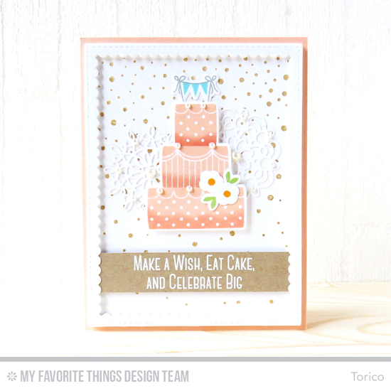 Handmade card from Torico featuring Lisa Johnson Designs Celebrate with Cake stamp set Die-namics, Snowfall Background stamp, Mini Delicate Doilies and Stitched Rectangle Scallop Frames Die-namics #mftstamps