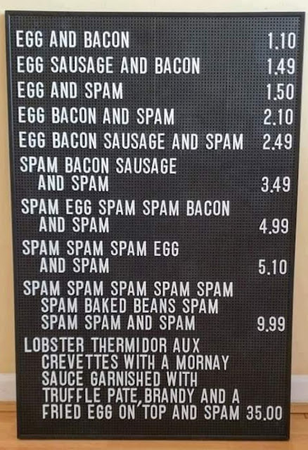 Monty Python SPAM sketch on a menu