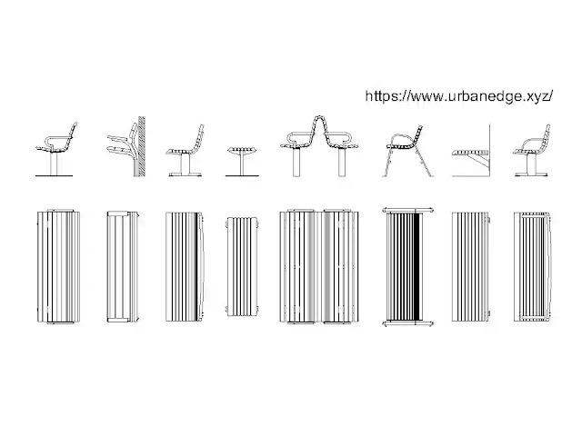 Benches cad blocks download - 15+ dwg models