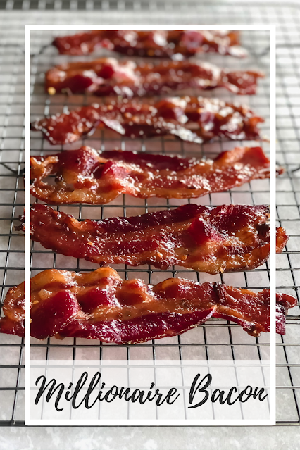 candied bacon on a cooling rack