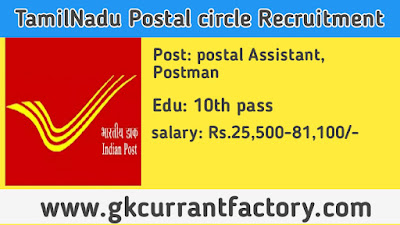 TamilNadu Postal circle Recruitment, TamilNadu Postman Recruitment