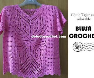 Patrones de Blusa de Mangas Cortas Tejida a Crochet