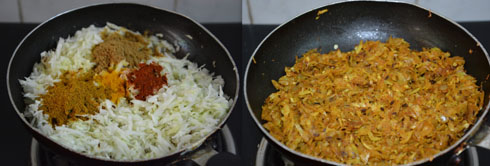 preparation of stuffing for cabbage paratha
