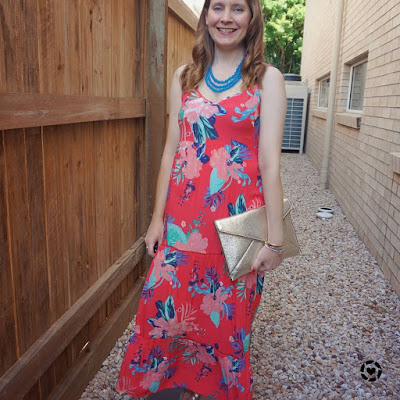 Kmart Tropicana sleeveless tiered maxi dress with rebecca minkoff champagne gold leo envelope clutch | awayfromblue Instagram