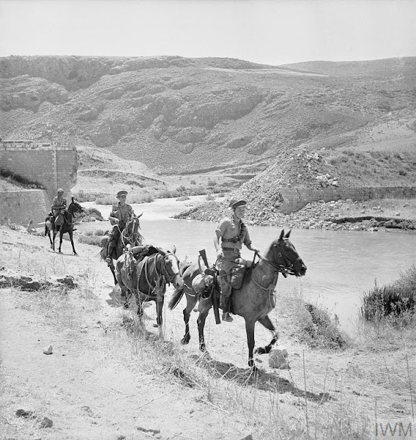 Cheshire Yeomanry patrolling on horseback at Marjuyan in Syria 16 June 1941 worldwartwo.filminspector.com