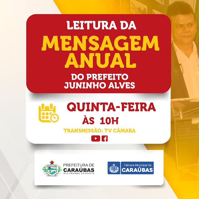 Prefeito Juninho Alves vai ao Legislativo ler mensagem anual nesta quinta-feira