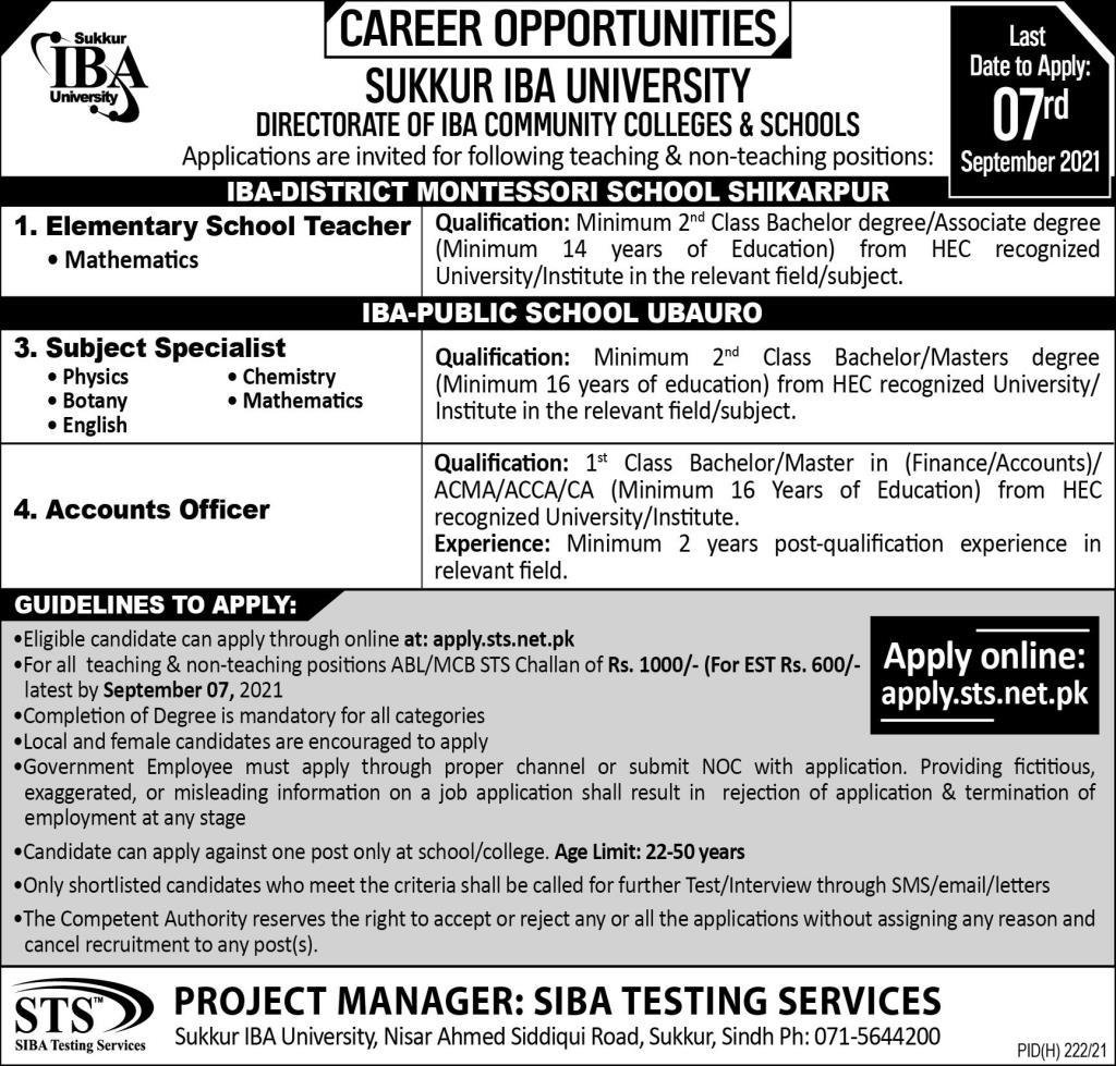 Directorate of IBA Community Colleges & Schools Sukkur Jobs 2021