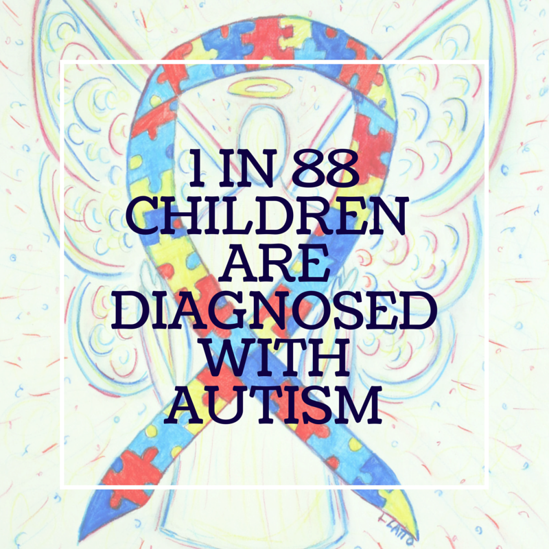 1 in 88 Children are Diagnosed with Autism Awareness Ribbon Puzzle Piece Angel Art Painting
