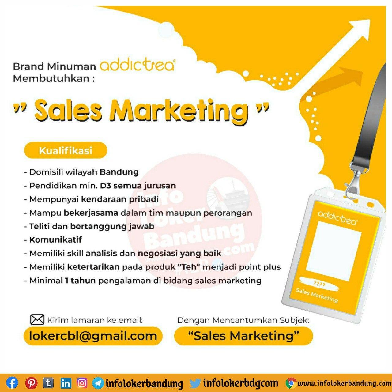 Lowongan Kerja Sales Marketing Addictea Bandung September 2020