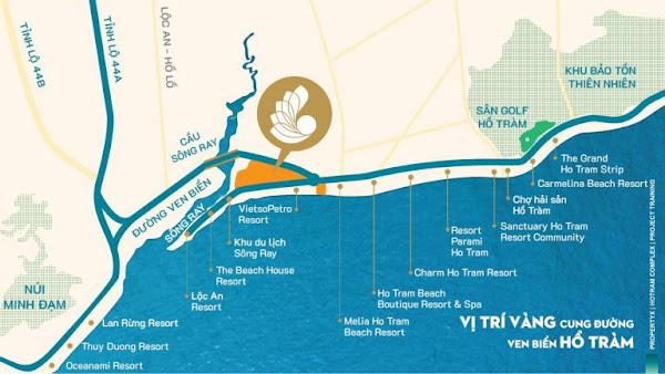 vị trí dự án Hồ Tràm complex trên bản đồ