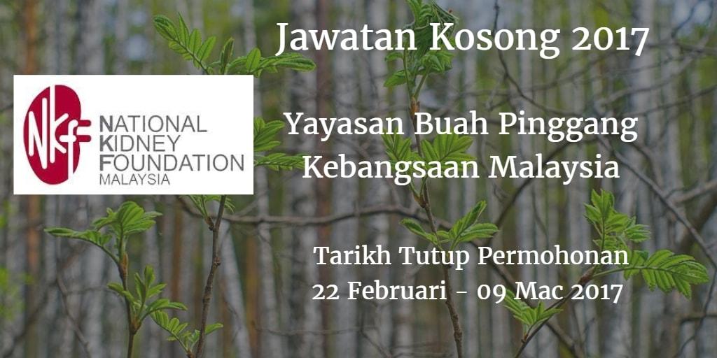 Jawatan Kosong Yayasan Buah Pinggang Kebangsaan Malaysia 22 Februari - 09 Mac 2017
